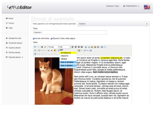 Realizza ebook on-line con ePubEditor